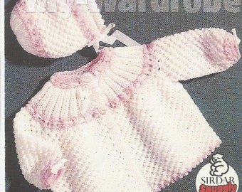 vintage knitting pattern for baby  stunning lacy pattern mattinee set  dk wool