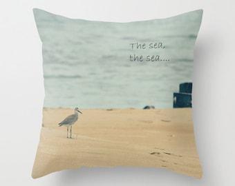 The Sea, the Sea - Home Decor Throw Pillow - Sandpiper, bird, sea, ocean, beach, photography
