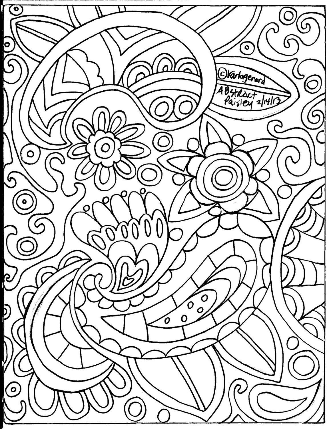 paisley coloring pages - rug hooking paper pattern abstract paisley folk art abstract