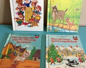 4 Vintage Disney books: Snow White, Bambi Grows Up, The Aristocats and the Missing Necklace & Merry Christmas Uncle Scrooge McDuck