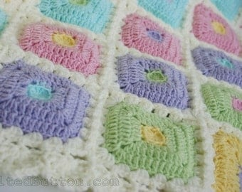 Crochet Pattern Blanket, Puffy Patch Quilt, Baby