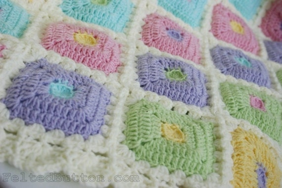 Puffy Crochet Baby Blanket Pattern : Crochet Pattern Blanket Puffy Patch Quilt Baby