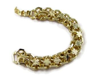 Vintage Shamrock Gold Tone Reversible Bracelet