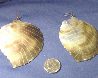 Beautiful Hand Crafted Huge Leaf Shaped Hanging Pierced Earrings
