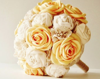 Fabric Wedding Bouquet, Weddings, Vintage Bridal Bouquet, Fabric Flower Bouquet,  Wedding Bouquet,  Yellow Roses