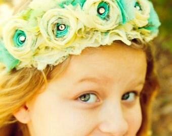 turquoise blue yellow vintage fabric flower fairy wreath crown flower girl princess hair piece shabby chic boho photo prop birthday Tiara