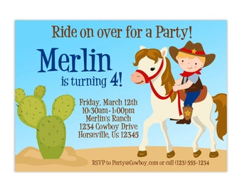 Cowboy Birthday Invitation - Cute Little Boy Cowboy, Horse and Cactus Personalized Birthday Party Invite - a Digital Printable File