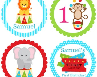 Carnival Party Circles - Blue Polka Dot, Green and Red, Boys Circus Animals Personalized Birthday Party Circles - A Digital Printable File
