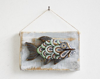 Fish Tribal Hand Made and Hand Painted Wall Decor Rustic Wood Decor Clay Ornament
