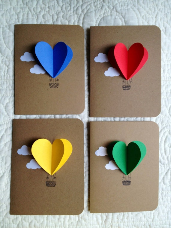 Heart Hot Air Balloon Cards Set Of 4 Etsy