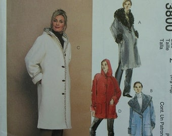 """Coats in Two Lengths with Hood McCall's Pattern 3800  Uncut   Size L and XL  Bust  38-40 & 42-44"""""""