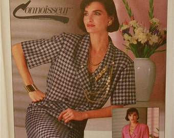 Dress Pleated- 1980's - Simplicity Connoisseur Collection Pattern 7373   Uncut    Size 14  Bust 36""