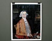 Portrait Original Digital Art Print, Fine Gentleman Collage MIxed Media