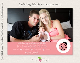 Ladybug Birth Announcement