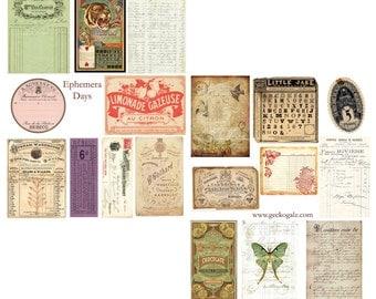 Ephemea Days Digital Collage Sheets