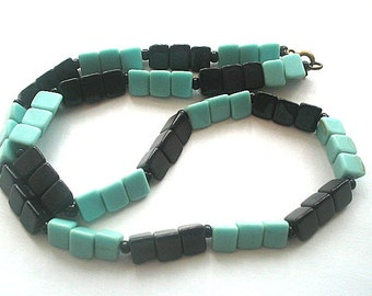 Glass Bead Necklace Blue & Black Color Block Vintage 18 Inches