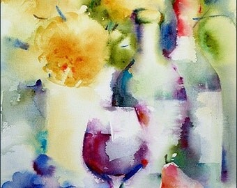"""Wine Watercolor, Original Watercolor Painting """"Autumn Wine"""" 12x16 inches"""
