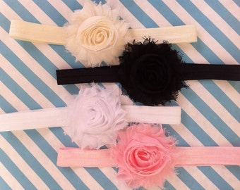 Shabby Headband set 4 pack YOU PICK, Baby headband,   newborn headband, flower headband,  baby girl headband