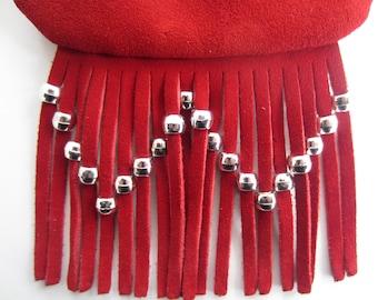 Red Suede Fringe Neck Pouch Bag, Hip Bag, Crossbody Satchel with Silver Beaded Fringe