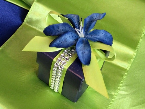 Lime Green and Royal Blue Bridal Wedding Favor Box