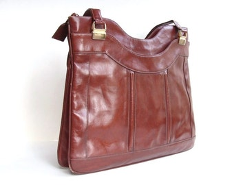 Vintage 70's Bag Lou Taylor Chesnut Brown Handbag Faux Leather Purse