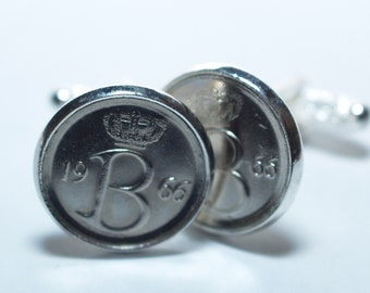 43rd Birthday Belgie 25 centimes Coin Cufflinks mounted in Silver Plated Cufflink Backs - 1974 43rd