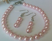 Pink Pearl Bracelet and Earring Set Handmade, Gift for Her