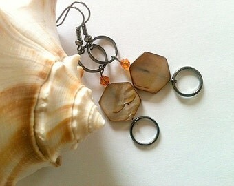 Brown Dangle Earrings With Silver Ring and Orange Swarovski Crystal Elements