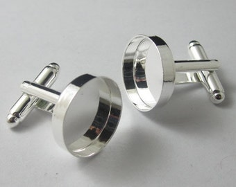 Cufflink blanks  with the 16mm round bezel setting brass 20pcs