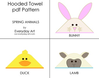 Hooded Towel Pattern - Bunny, Duck, Lamb (Spring Animals)