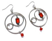 Round Loop Earrings with Red Crystal, Handmade Jewelry by Dreambuzzer on Etsy