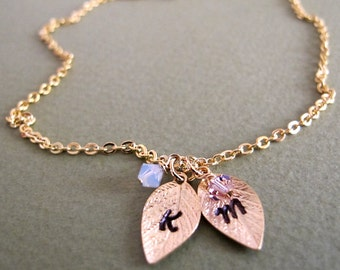 Leaf Birthstone Necklace. Gold Personalized 2 Initials Necklace. New Mom Jewelry, 14k Gold Filled Family Necklace / Charm Necklace / Leaves