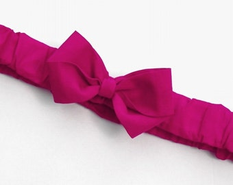 Fuchsia Ruffled Bow Headband . Baby sizes: 0-6m, 6-12m, 12m plus & Made to Measure for Preemie, Baby, Toddler, Girls, Adults
