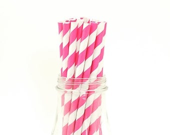 25 Hot Pink Paper Straws Striped Retro Vintage Style Carnival Circus Wedding Birthday Bridal Baby Shower W/ Printable Flags