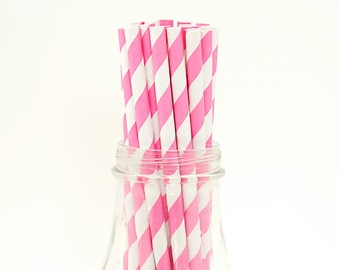 25 Princess Pink Paper Straws Stripe Retro Vintage Style Carnival Circus Wedding Birthday Bridal Baby Shower W/ Printable Flags