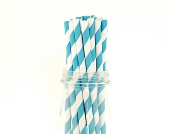 25 Aqua Turquoise Striped Paper Straws Retro Vintage Style Carnival Circus Wedding Birthday Bridal Baby Shower W/ Printable Flags