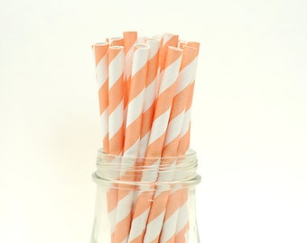 Set of 25 Peach Orange Striped Paper Straws with FREE DIY Printable Flags