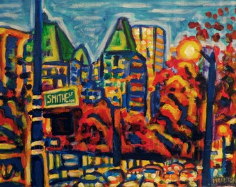 "ORIGINAL acrylic painting - Southbound Traffic - 14"" x 18"" Vancouver City Scene Art"