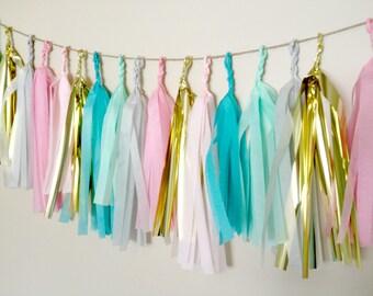 TREASURED TULIP - Tissue Paper Tassel Garland  - Party - Wedding - Baby Shower - Nursery
