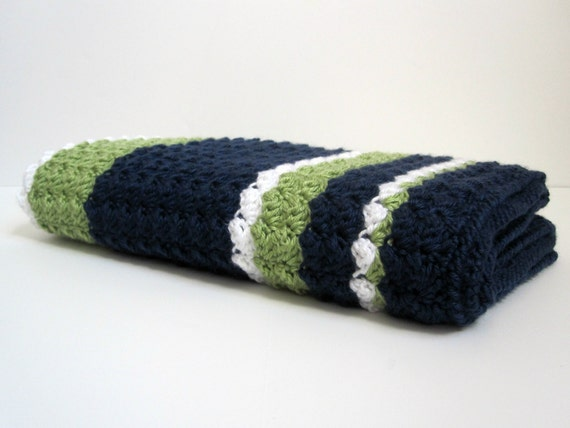 Preppy  Nautical Baby Boy Reversible Crochet by 12Charlotte Nautical Crochet Baby Blanket