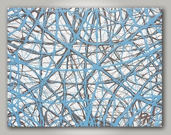 ORIGINAL Jackson Pollock Inspired, Blue, Gray, Light Blue Mixed Media Arcylic & Oil Painting (Number 15)