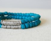 Deep Sky Blue Glass Bracelet //