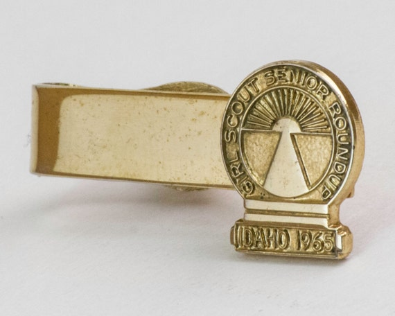 Vintage Tie Clip: Girl Scout - Senior Roundup 1965 Idaho (Gold Tone Metal) by Robbins Company, GSA, Scoutmaster, For Him, For Dad
