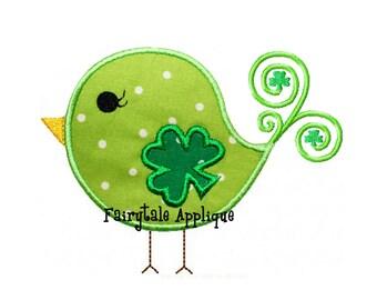 Digital Machine Embroidery Design -  St. Partick's Day Birdie Applique