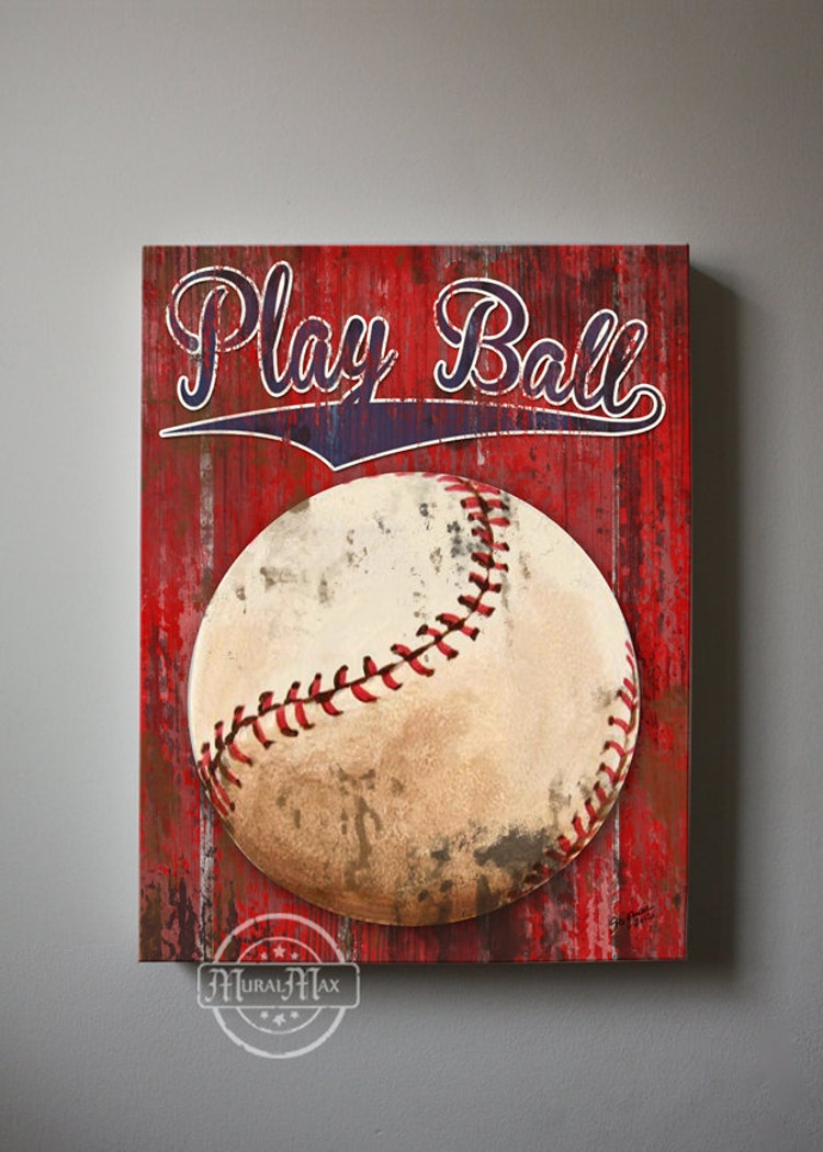 Baseball Art Sports Nursery Canvas Art Baseball By Muralmax