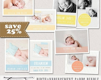 ON SALE! Birth Announcement Card, 5x7, 7x5 card psd PhotoshopTemplates, Bundle