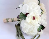 Fabric flowers bouquet- Christmas or Wedding nosegay- Beautiful shabby chic  berries and off white peonies  bridal bouquet.