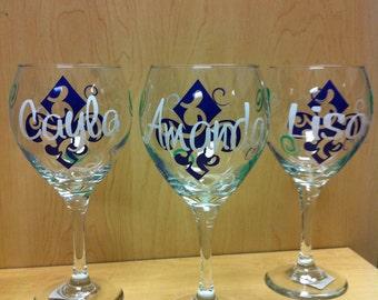 Mardi Gras Wine Glass Personalized