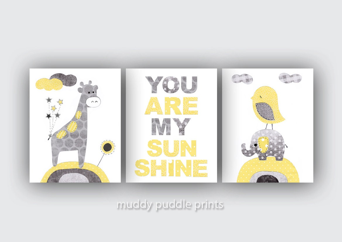 Yellow Grey Nursery Decor Nursery Print Nursery Art Yellow