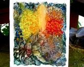 Original Encaustic Painting - Impressionist Fantasy Garden Scene vivid colours 11x14inches  StudioSabine